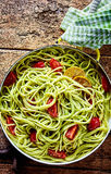 Italian pasta with avocado pear and lemon Stock Image