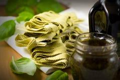 Italian Pasta with basil stock image