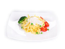 Italian pasta with basil Royalty Free Stock Images