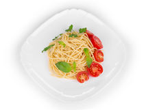 Italian pasta with basil Stock Photo