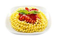 Italian pasta with basil and tomato salsa Royalty Free Stock Image