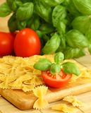 Italian pasta with basil and tomatoes Stock Images