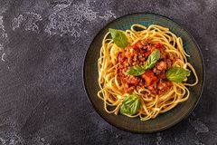 Italian pasta bolognese. Top view Stock Photo