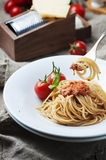 Italian pasta bolognese with meat and tomato Stock Image