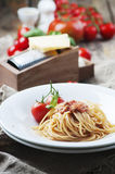 Italian pasta bolognese with meat and tomato Royalty Free Stock Photo