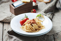 Italian pasta bolognese with meat and tomato Stock Images