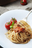 Italian pasta bolognese with meat and tomato Stock Photos