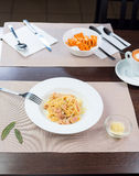 Italian pasta bolognese on a plate. Italian pasta bolognese with bacon on a plate Stock Photography