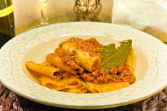Italian pasta called `Paccheri` with meat souce Royalty Free Stock Photo