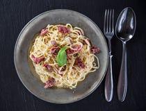 Italian pasta carbonara Stock Images