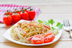 Italian pasta carbonara Royalty Free Stock Photo