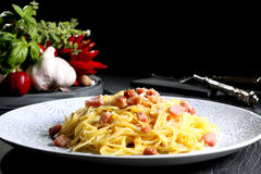 Italian pasta carbonara Stock Photos
