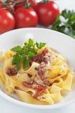 Italian pasta carbonara Royalty Free Stock Photos
