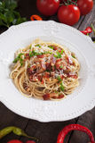 Italian pasta carbonara. Spaghetti with pancetta bacon, egg and cheese sauce Royalty Free Stock Photography