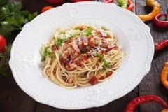 Italian pasta carbonara. Spaghetti with pancetta bacon, egg and cheese sauce Stock Photos