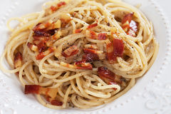 Italian pasta carbonara. Spaghetti with pancetta bacon, egg and cheese sauce Royalty Free Stock Images