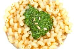 Italian pasta cavatappi with pesto Royalty Free Stock Images