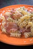 Italian pasta with prosciutto Royalty Free Stock Photos