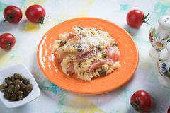 Italian pasta with prosciutto Royalty Free Stock Image