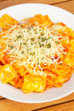 Italian pasta with cheese and tomato Royalty Free Stock Photography