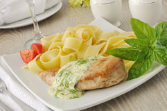 Italian pasta  with chicken and cream sauce Stock Photo