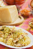 Italian pasta with chicken meat Royalty Free Stock Photos