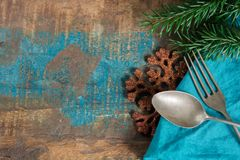 Italian pasta Christmas dinner concept with blue napkin and chri. Stmas decoration copy space, template Stock Photos