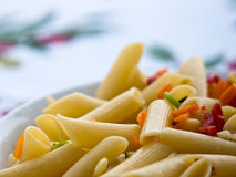 Italian pasta close-up. Typical Italian past with vegetables Royalty Free Stock Photo