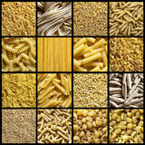 Italian pasta collage. A collage of 16 photos about italian pasta stock images
