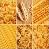 Italian pasta collage Stock Photos