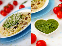 Italian pasta collage. Stock Photo