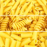 Italian pasta collage. Of three various borders or backgrounds Royalty Free Stock Photos