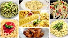 Italian pasta collage stock video footage