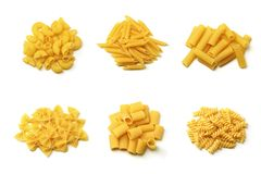 Italian pasta collection. Different tipical italian pasta isolated over white Stock Photography