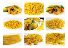 Italian pasta collection - collage Royalty Free Stock Images