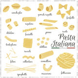 Italian Pasta collection drawings. Sketches. Stock Image