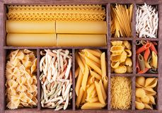 Italian pasta collection in wooden box Royalty Free Stock Photo