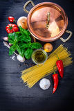 Italian pasta cooking foods ingredient for national Royalty Free Stock Photography