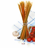 Italian Pasta with cooking ingredients Royalty Free Stock Images