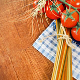 Italian Pasta with cooking ingredients Royalty Free Stock Photo