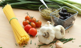 Italian pasta cooking ingredients Royalty Free Stock Photos