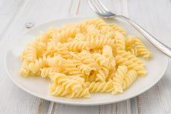 Italian pasta dish cooked unseasoned Royalty Free Stock Photos