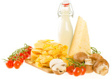 Italian pasta dish ingredients isolated on white (fresh tagliate Stock Photography