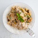 Italian pasta dish. Pollo alle tetrazzini or chicken tetrazzini. It contains fettucine, basil, parmesan, peas. It's a pasta bake stock images