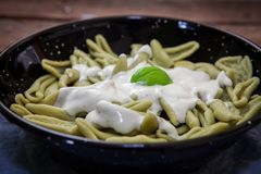Italian pasta dish. Italian spinach pasta with gorngozola blue cheese Stock Photography