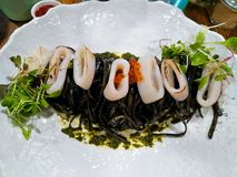 Squid Ink Linguini stock photography