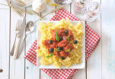 Italian pasta dish. With tomato sauce and basil Royalty Free Stock Photography