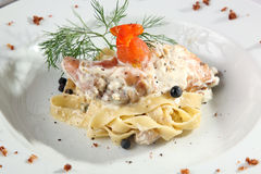 Italian Pasta with duck Royalty Free Stock Photography