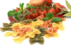 Italian pasta farfalle with vegetables Royalty Free Stock Photos