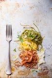 Italian pasta. Italian flag colors Stock Photos